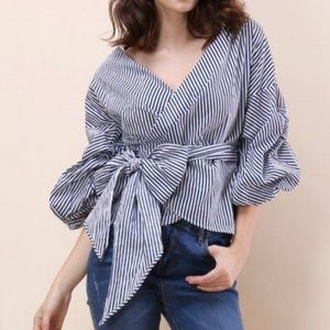 BLUE & WHITE WRAP AROUND TOP by Chicwish